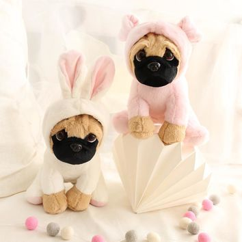 1pc 20cm delicate pug dog become rabbit dinosaur super cute cartoon plush doll novelty romantic birthday stuffed toy