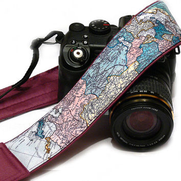 World Map Camera Strap. Camera Accessories. SLR, DSLR Camera Strap. Gift For Photographer.