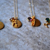 Gold Filled Initial And Birthstone .. on Luulla