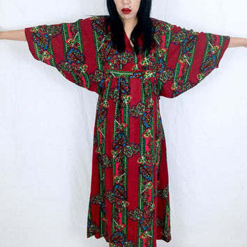 Vintage 60s 70s Psychedelic Red Burgundy Orlon Paisley Print The Great Entertainers Sears Muumuu Kaftan Adjustable Bust One Size Fits Most