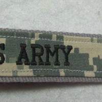 Embroidered, Custom Key Fob, Wristlet Key Chain, Luggage Tag, Army ACU, Military Key Fob