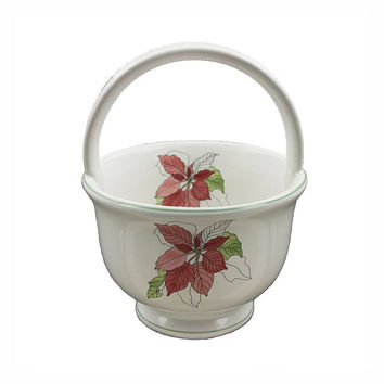 Block Poinsettia Basket Watercolors Red Poinsettia Porcelain Small Handled Basket Portugal