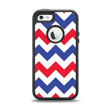 The Patriotic Chevron Pattern Apple iPhone 5-5s Otterbox Defender Case Skin Set