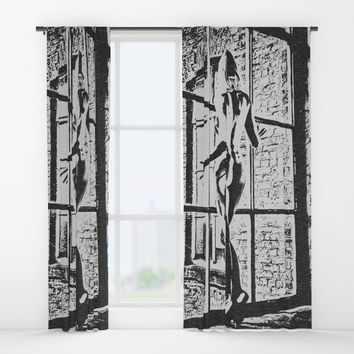 Set me free - sexy naked girl at the window, black and white erotic artwork, adult art Window Curtains by Casemiro Arts - Peter Reiss