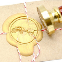 Horse Carriage Coach Gold Plated Wax Seal Stamp x 1