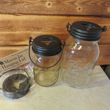 Country Metal Hanging Mason Jar Star Top Lid.