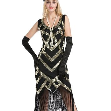 DlFASHION Women's 1920s Beaded Sequin Crisscross Fringe Gatsby Flapper Party Ball Dress