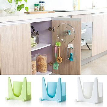 Plastic Kitchen Pot Pan Cover Shell Cover Sucker Tool Bracket Storage Rack Blue /Green Color