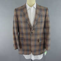 Vintage 1960s Blazer / 60s Jacket / 1960s Sports Coat / Blue & Tan Plaid / Botany 500 / 60s Mid Century Mad Men Suit Coat