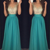 Sleeveless Prom Dress,Green Chiffon  Prom Dresses,Evening Dresses