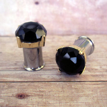 One of a Kind - Pair of Gold Prong & Black Faceted Rhinestone Plugs - Handmade Girly Gauges - Formal - 4g, 2g, 0g, 00g (5mm, 6mm, 8mm, 10mm)