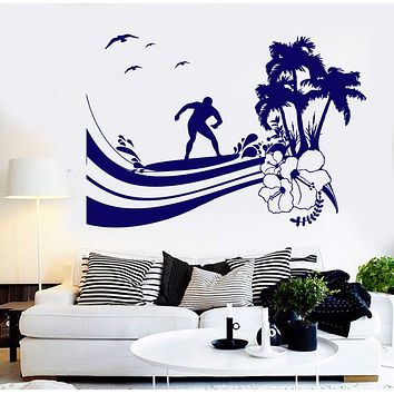 Vinyl Wall Decal Surfing Wave Palm Tree Beach Style Surfer Island Stickers Unique Gift (1319ig)