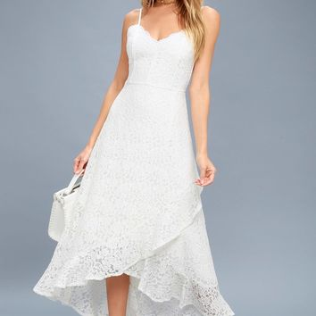 Saunter Along White Lace Midi Dress