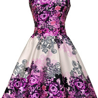 Purple Rose Floral Collage on Cream Tea Dress