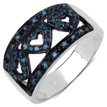 0.32 Carat Genuine Blue Diamond .925 Sterling Silver Ring