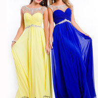 Sheer High Neckline Party Time Formal Prom Dress 6555