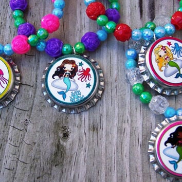 Summer Mermaids Beach Luau Pool Girls Dolls Slumber Party Club Birthday Party Favor Bracelet 6pk
