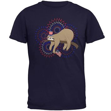 4th Of July Sloth Patriotic Cute Fireworks Mens T Shirt