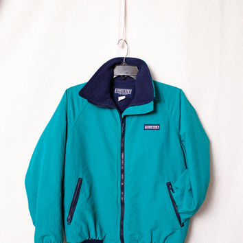 Ladies Lands End Turquoise Ski Jacket with Navy Blue Fleece Lining, Women's Small Lands Ends Turquoise 80's Ski Jacket