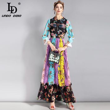 LD LINDA DELLA 2018 Runway Long Dress Women's 3/4 Sleeve Bee Sequin patchwork Lace Floral Print Ruched Vintage Maxi Dress
