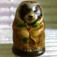 Porcupine Vintage Franklin Mint FP Friends of the Forest Thimble Porcelain 1982