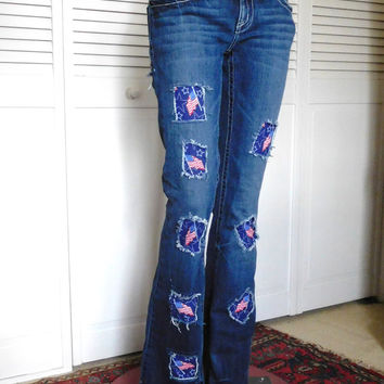 Hippie Jeans Patchwork Jeans Upcycled Clothes Frayed Jeans Hip Hugger Jeans Flair Bellbottom Cowgirl Jeans Flag Jeans American Hippie Indie