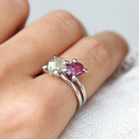Silver rings with Garnet and Zircon, 925 Sterling Silver, Natural stone ring, Minimalist ring, handmade jewelry