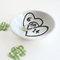 Wedding Date Ring Dish with interlocking hearts great couples gift