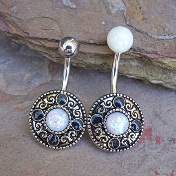 Tribal White Opal Belly Button Ring