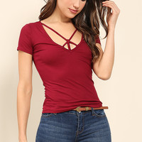 Ribbed Strappy-Cutout Top