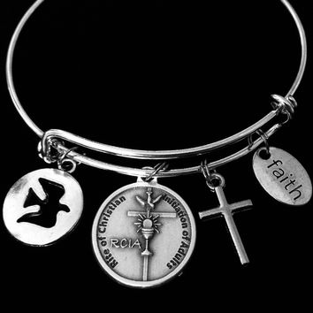 RCIA Jewelry Adjustable Charm Bracelet Right of Christian Initiation of Adults Silver Expandable Bangle One Size Fits All Gift