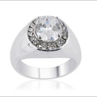 Simulated Diamond, White Austrian Crystal Men's Ring in Stainless Steel (Size 12) TGW 9.30 cts.