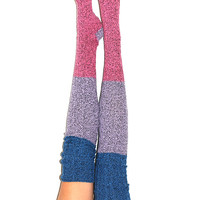 Rose Serenity Color Block Marled Cable Knit Thigh High Socks