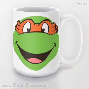 Mikey TMNT Teenage Mutant Ninja Turtles 11 / 15 oz Mug shwasher Microwave Safe Cup Tea Coffee Pop Culture Television Show Green Movie TV