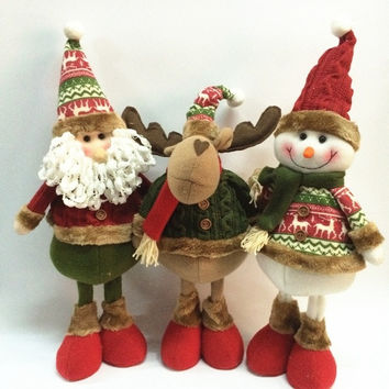 Table Ornament Snowman/  Deer/ Cute Santa Claus Design Indoor Christmas Standing Decoration Supplies = 1741648260