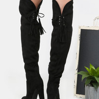 Thigh High Fringe Suede Boots BLACK | MakeMeChic.COM