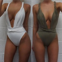 Sexy Ladies Summer Beach Pure Color Low Chest One Piece Bikini Swimsuit Bathing