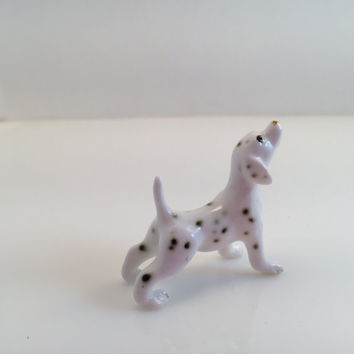 Porcelain Miniature Dalmatian, Small Dog Figurine, Black White Spotted Dog, Vintage Ceramic Animal Collectible