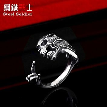 Steel soldier punk men music guitarra skull ring stainless steel  biker rock adjustable jewelry male gift dropshipping