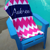 Personalized Beach Towel 30x60 - Chevron