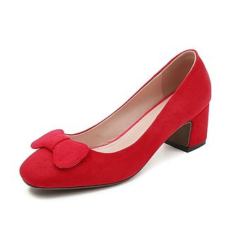 Shallow Toe Butterfly Knot Women Pumps Thick Mid Heeled Shoes