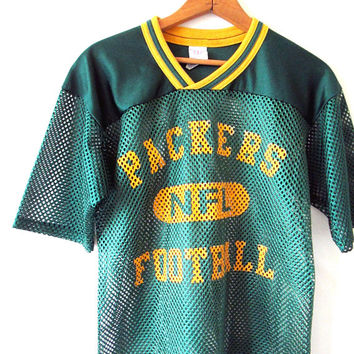 Vintage 1990s PACKERS FOOTBALL Green Bay Packers Mesh Scrimmage Jersey Tshirt Kids Sz L (14-16) or Adult Sz S