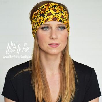 Yoga Headband, Wide boho daisy headband, Ladies stretch fabric headwrap, Womens fashion headband, Fitness Workout Headband, Bohemian Turban