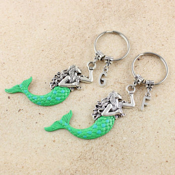 Matching Best Friend Mermaid Keychain Set with Initials - Set of 2 Mermaid Key Chains - Best Friend Keychains - Mermaid Gift - Fantasy Gift