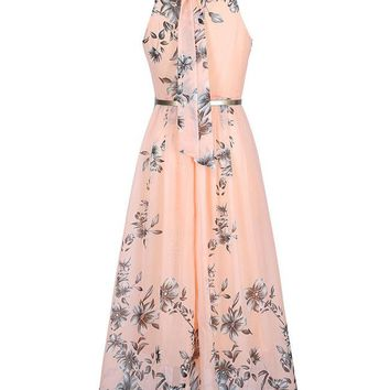 Flowy Floral Printed  Chiffon Crew Neck  Maxi Dress