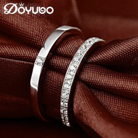 DOYUBO Authentic 100% Solid Silver Couples Ring For Women & Men Classical White Cubic Zircon Sterling Silver Rings Jewelry VB041