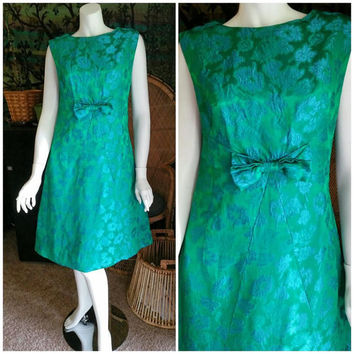 60's Emerald & Aqua Brocade Dress, Metallic Green Dress, Bow Tie Waist Dress, Mod Brocade Dress, Holiday Dress, Vintage Party Dress, MD/LG