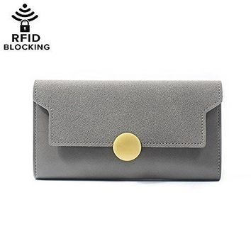 Womens RFID Blocking Matte Leather Slim Long Clutch Wallet Large Capacity Card Holder Coin Pouch Ladies Travel Purse