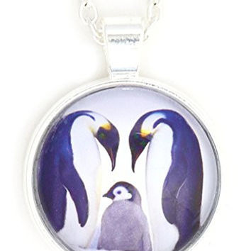 Emperor Penguin Parents and Baby Necklace Silver Tone NW16 Nature Photo Print Pendant Fashion Jewelry