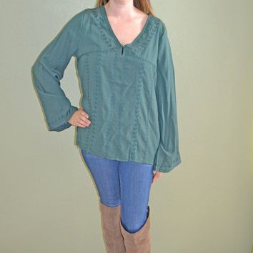 Charmed By You Bell Sleeve Top: Green